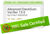 Mar 31, 2007. Has been tested in the SoftPlatz.com labs, found completely clean from any type of viruses, adware, spyware and other malicious components and awarded by our '100% Safe' mark, which assures that it is safe to download and install.